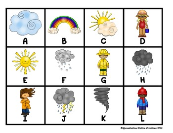 "Weather: ""Roll, Say, Keep!"" Alphabet Center, Game, and Printables"