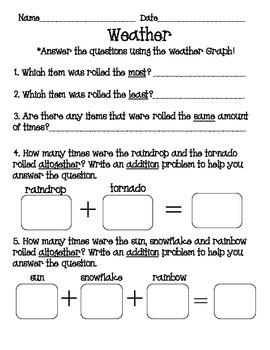 Weather Roll Tally Graph Math Activity Set