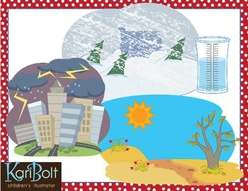 Weather Tools, Scenes and Natural Disasters Clip Art