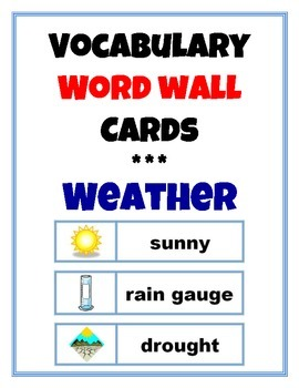 Word Wall Vocabulary Cards: Weather & Seasons