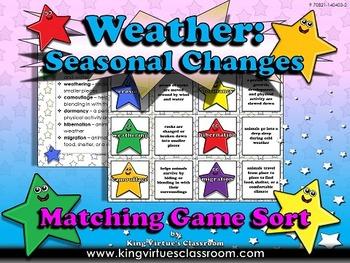 Weather: Seasonal Changes Matching Game Sort - Erosion, Weathering, Migration