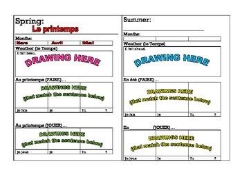Weather, Seasons, Activities Graphic Organizer (Bien Dit 1