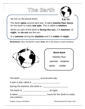 First Grade Science Weather Seasons Sun Moon Student Booklet No Prep