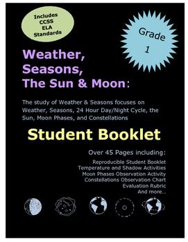 Grade 1 Science Weather Seasons Sun Moon Student Booklet No Prep
