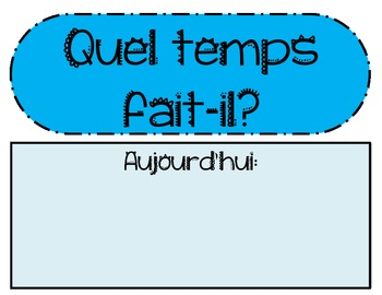 Weather Set Bulletin Board Cards - French