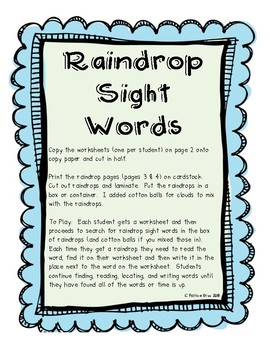 Weather Sight Word Reading & Writing Center
