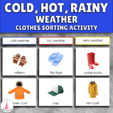 Weather Sorting Activity (hot, cold, rainy clothes) Montessori