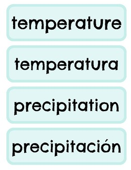 Weather Spanish & English Word Wall