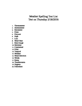 Weather Spelling Words List NCES 5.E.1