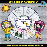 """ESL Vocabulary Game: Weather Spinner """"What's the weather like today?"""""""