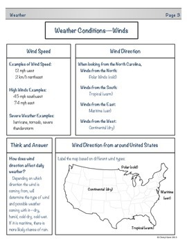 Weather Student Note Taking Booklet for Essential Standards