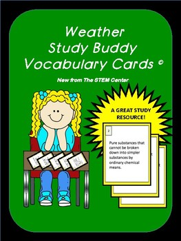 Weather Study Buddy Vocabulary Cards