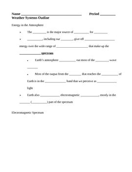 Weather Systems Notes Outline Lesson Plan
