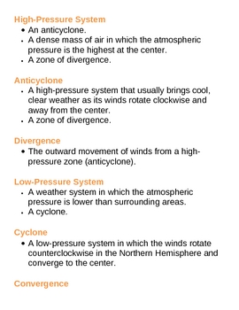 Weather Systems Unit Vocabulary Lesson Plan