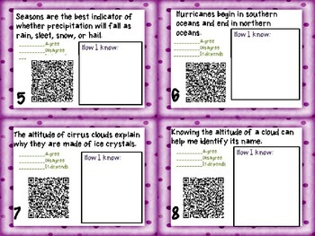 Weather Task Cards {Agree/Disagree Statement} Common Core 5.E.1 {QR Codes}