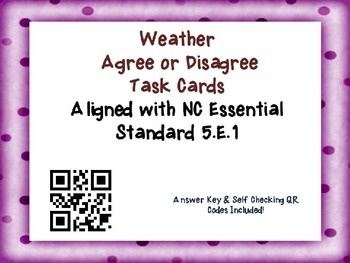 Weather Task Cards {Agree/Disagree Statement} Common Core