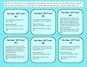 Weather Task Cards: Air Mass Weather Challenge