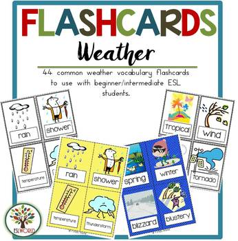 Weather Terms {44 Flashcards & Games} ESL Adults & Grades 4-6