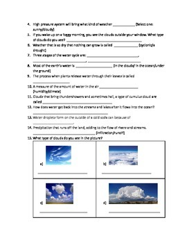 Weather Test - 5th Grade