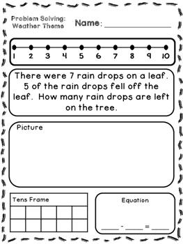 Weather Theme Addition & Subtraction Word Problems (Kindergarten/First)