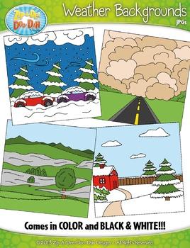 Weather Background Scenes Clipart {Zip-A-Dee-Doo-Dah Designs}