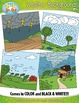 Weather Themed Background Scenes Clip Art Set — Includes 3