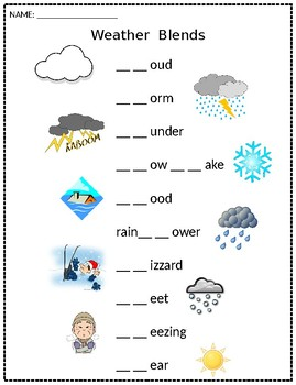Weather Themed Blends Printable (FREEBIE)