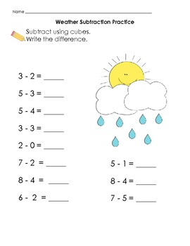 Weather Themed Differentiated Subtraction Set K.OA
