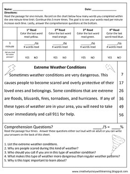 Weather Themed Fluency Passages With Comprehension: Super Readers Series