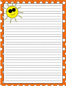 Weather Themed Lined Writing Paper Set Pack of 5