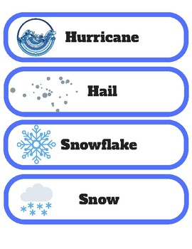 Weather Themed Pocket Chart Vocab Stips & 3 Part Montessori Cards