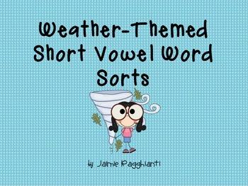 Weather Themed Short Vowel Word Sort Cards