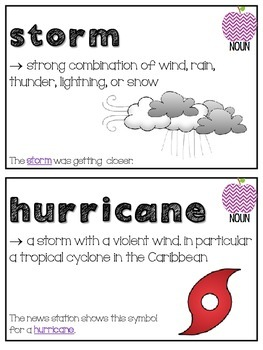 Weather Themed Vocabulary Cards