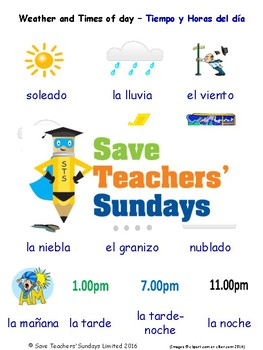Weather & Times of Day in Spanish Worksheets, Games and Flash Cards (with audio)