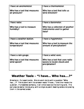 "Weather Tool ""I have... Who has...?"" Review Activity"