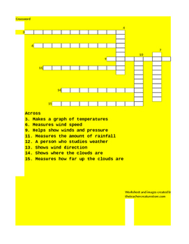 Weather Tools Crossword