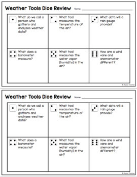 Weather Tools Dice Review Activity