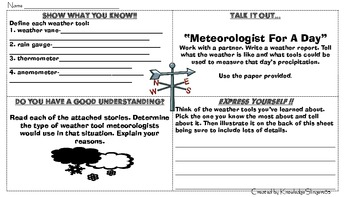 Weather Tools-Tasks for Different Learning Styles--Rotation