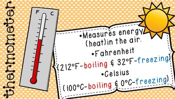 Weather Tools and Terms Teaching Slides/Posters