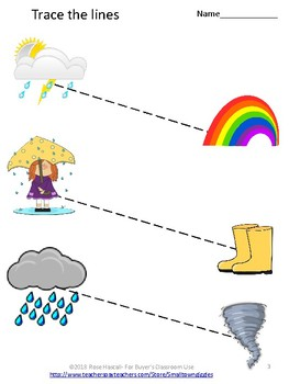 Weather Tracing Activities, Early Childhood, Kindergarten, Special Education