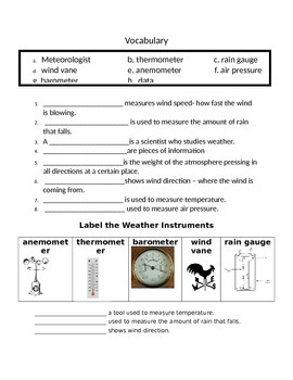 Weather UNIT Assessments