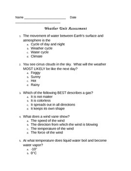 Weather Unit Assessment - 4th Grade Science