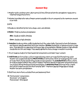 Weather Unit Assessment Study Guide