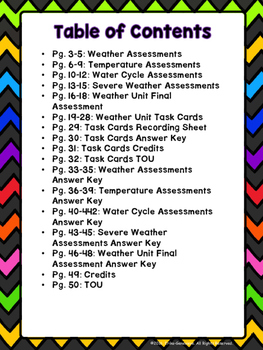 Weather Unit Assessments and Task Cards BUNDLE- 2nd Grade