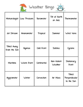 Weather Unit Bingo Game