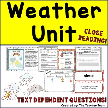 Weather Unit ~ Informational Text for Close Reading ~ Text Dependent Questions