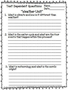 Weather Unit | Reading Comprehension Passages and Questions