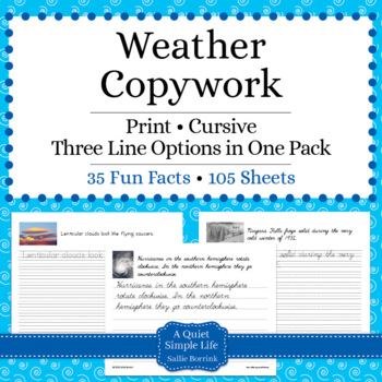 Weather Unit - Copywork - Cursive - Handwriting