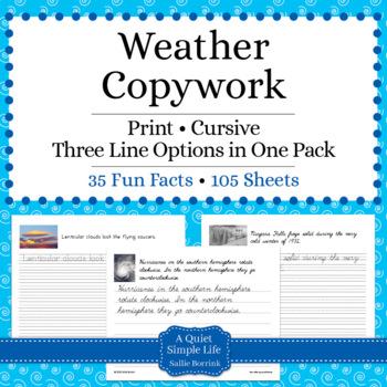 Weather Unit - Copywork - Print and Cursive - Handwriting