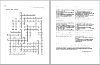 Weather Unit Crossword Puzzle By Science From Murf Llc Tpt